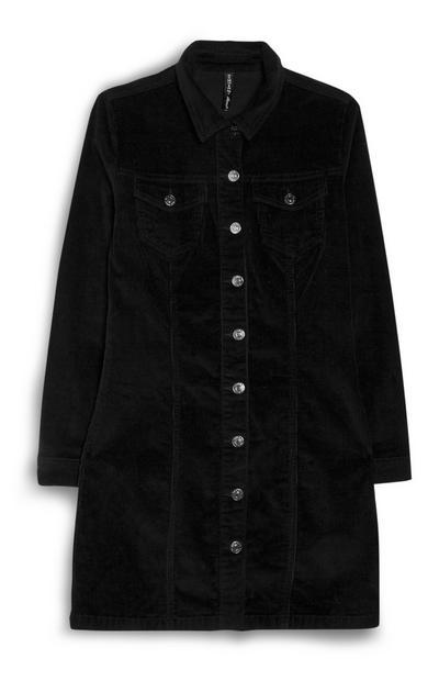Vestido corto de pana negro
