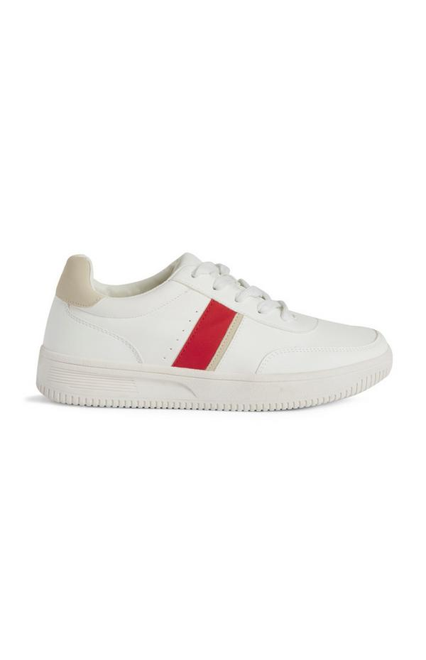 White Trainer With Red Side Stripe