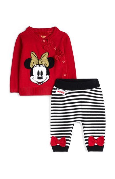 Pull rouge et legging rayé Minnie Mouse nouveau-né fille