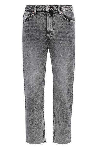 Graue Vintage-Jeans mit geradem Bein