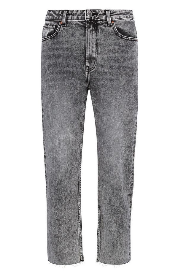 Grijze vintage gebleekte jeans met rechte pijpen