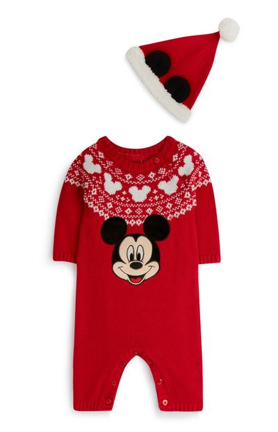 Rood Mickey Mouse-kerstslaappakje en -muts voor pasgeborenen