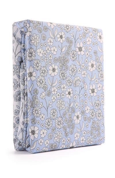 Blaues Bettwäscheset mit Blumenmuster