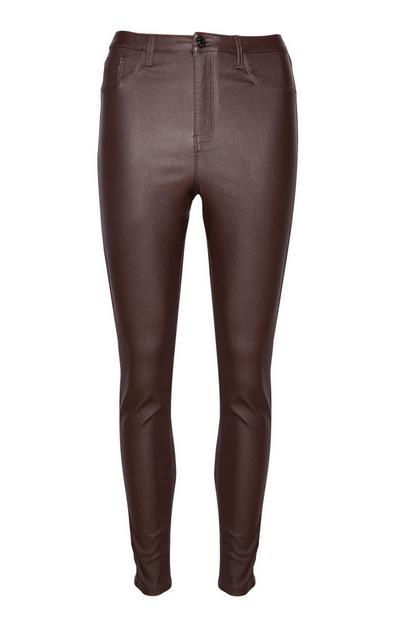 Pantalon marron taille haute