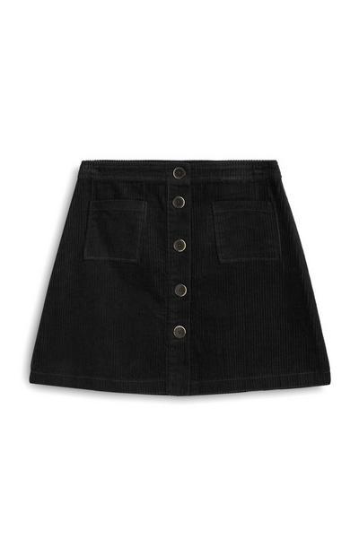Minifalda de pana negra con botones