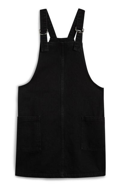 Schwarzes Jeans-Latzkleid