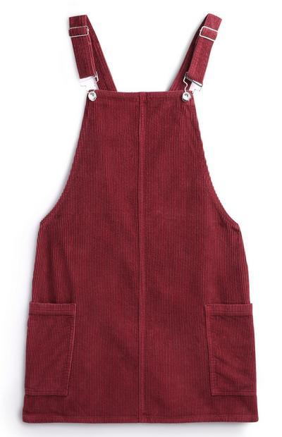 Rotes Cordlatzkleid mit Taschen