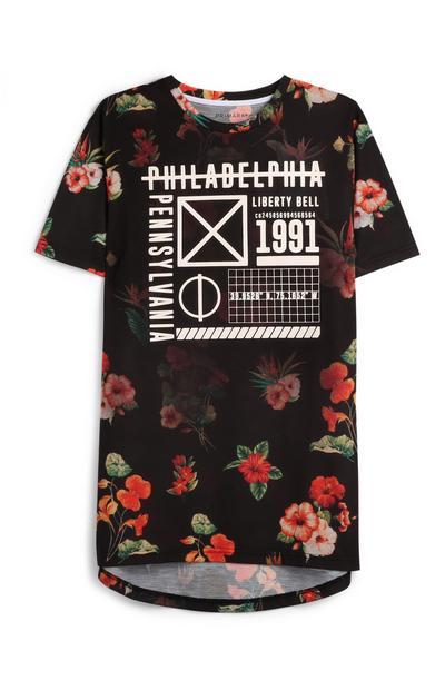 Zwart T-shirt met bloemenprint
