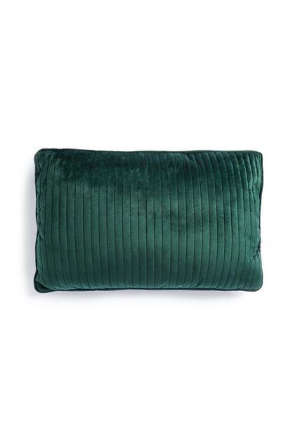 Coussin rectangulaire vert en velours