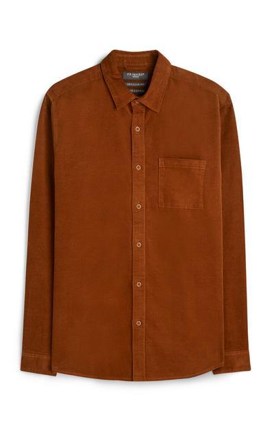 Rjava srajca iz rebrastega žameta