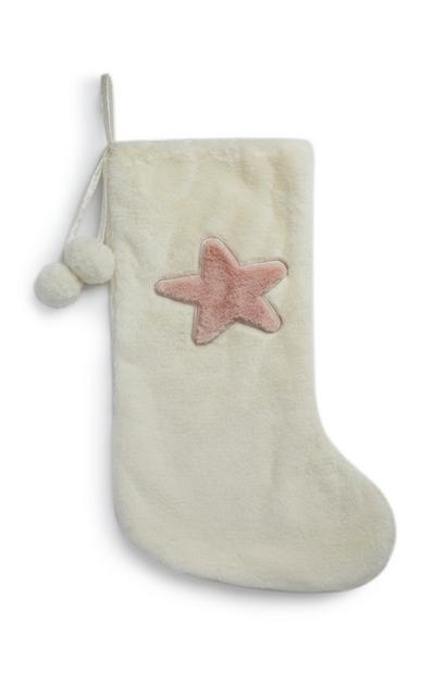 Cream Star Christmas Stocking