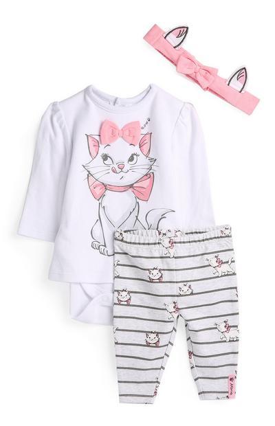 Conjunto 3 peças Aristogatos menina bebé cor-de-rosa