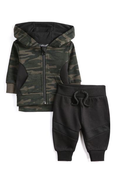 Sweat à capuche camouflage et legging bébé garçon