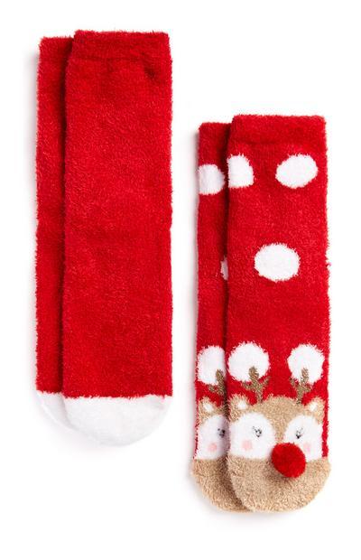 2 paia di calzini morbidi rossi con renne