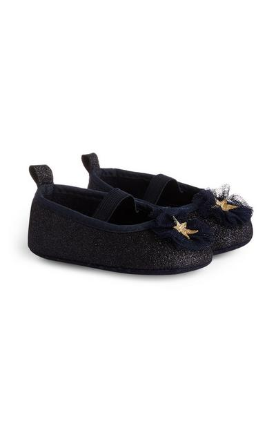 Baby Girl Navy Glitter Star Ballerinas