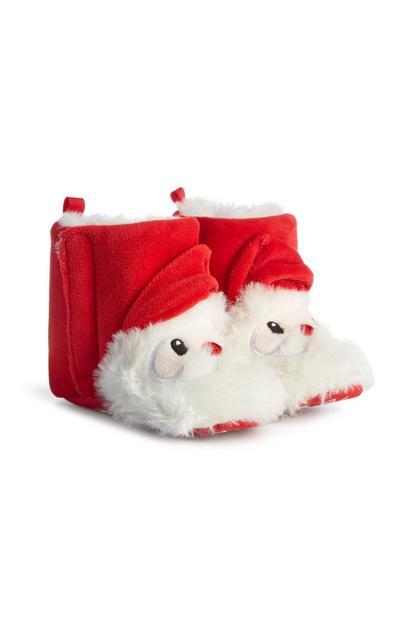 Pantufas tipo bota Pai Natal vermelho