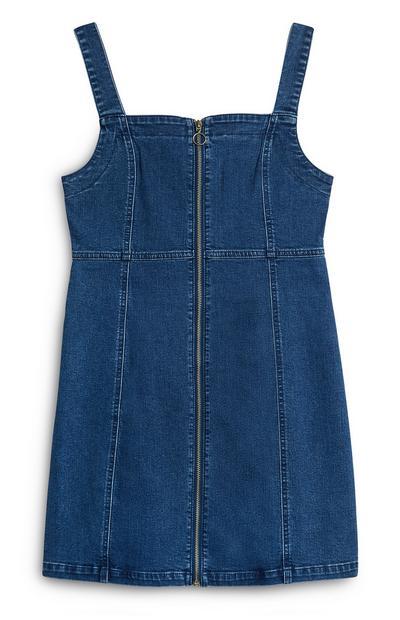 Nauwsluitende blauwe denim jurk met rits