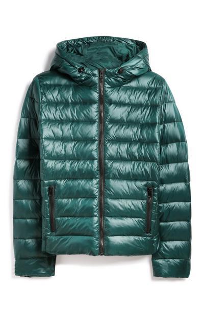 Abrigo acolchado verde azulado brillante