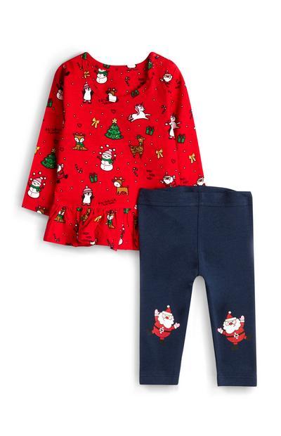 Rood babytopje en -legging met kerstfranje voor meisjes