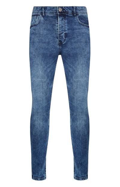 Calças ganga elásticas skinny azul
