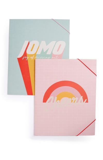 2 cartelline A4 rosa con scritta