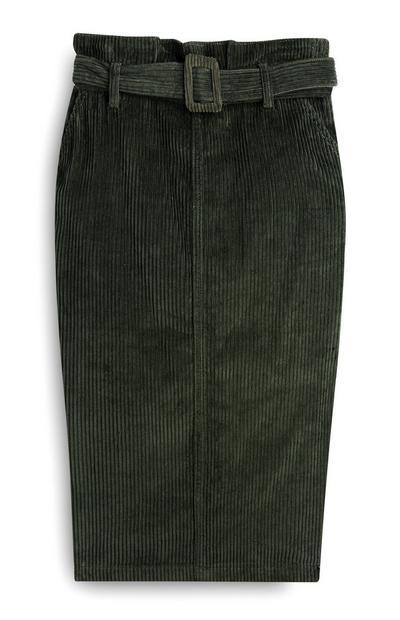 Falda midi de pana verde