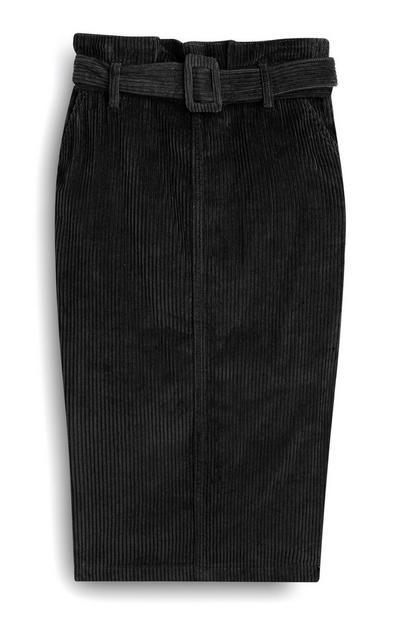 Jupe noire mi-longue noire en velours côtelé