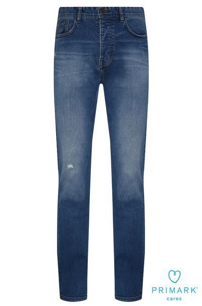 Jeans blu a gamba dritta in cotone sostenibile