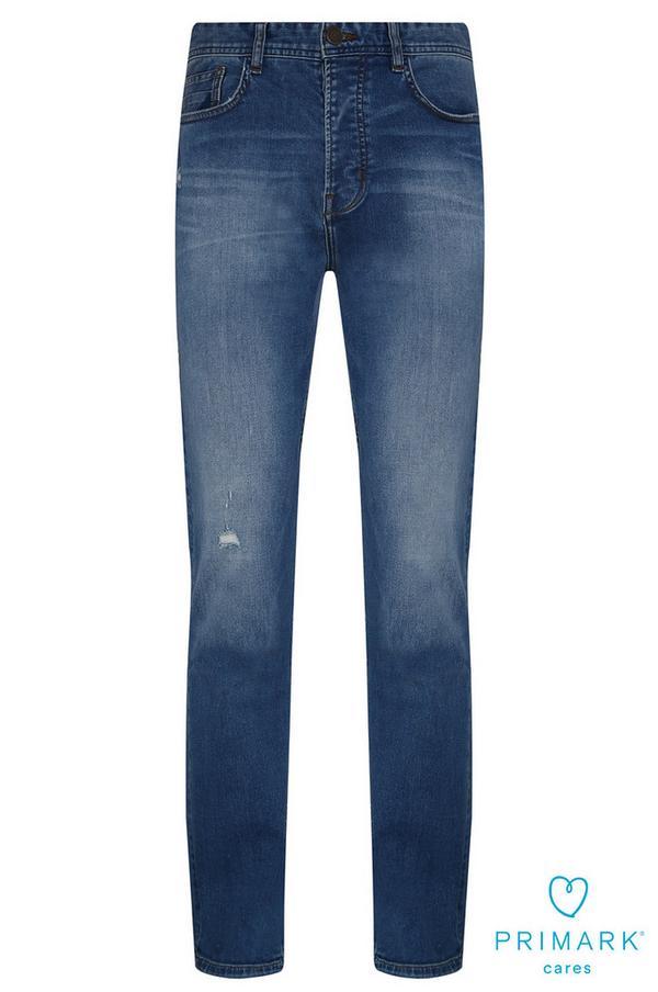Modre kavbojke iz trajnostnega bombaža z ravnimi hlačnicami