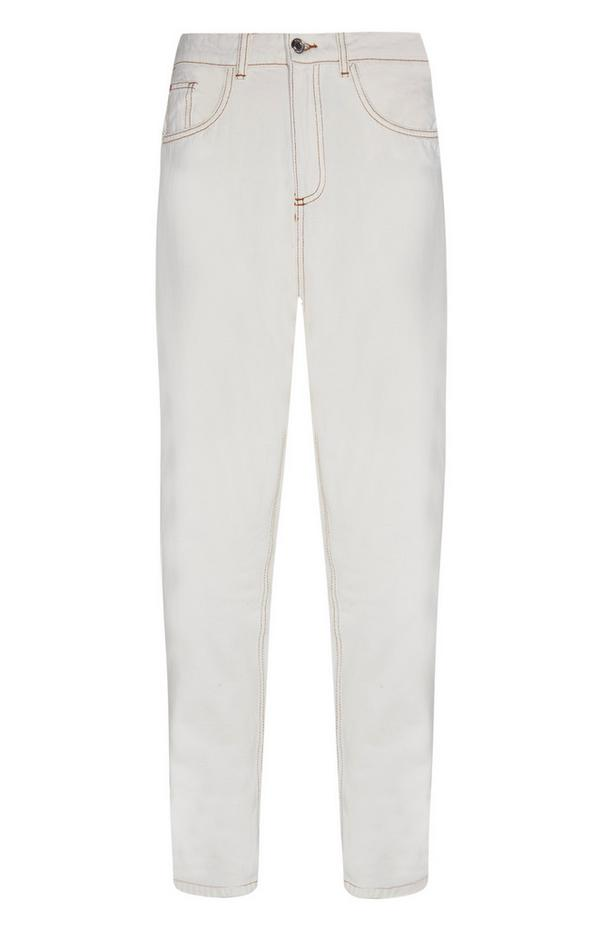 Ecrufarbene Mom-Jeans