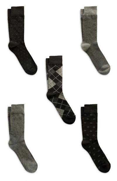 5-Pack Black Modal/Cotton Socks