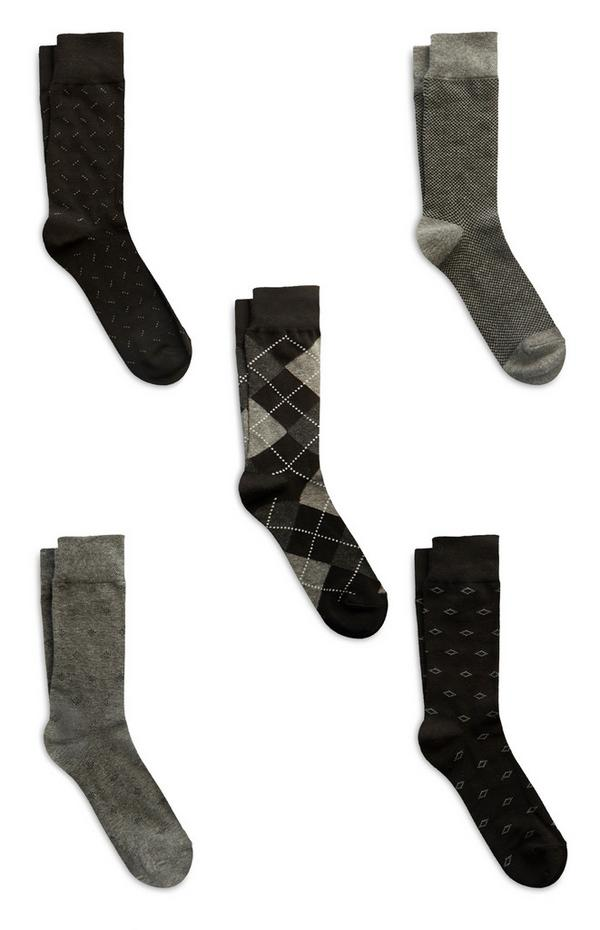 5 paia di calzini neri in cotone modal