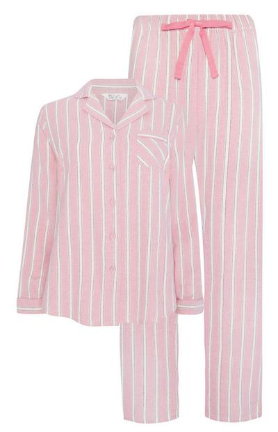 Rožnata črtasta pižama