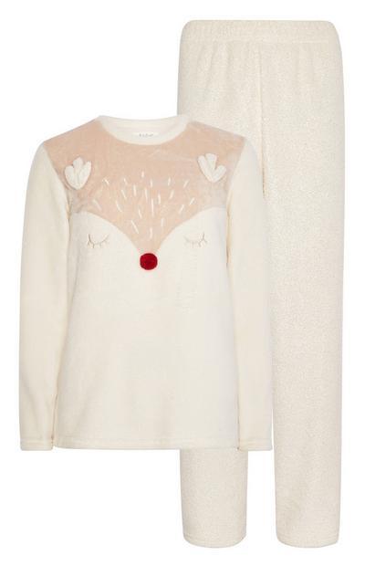 Cream Reindeer Pyjama Set
