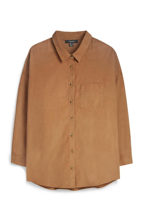 Camicia color cuoio in velluto a coste