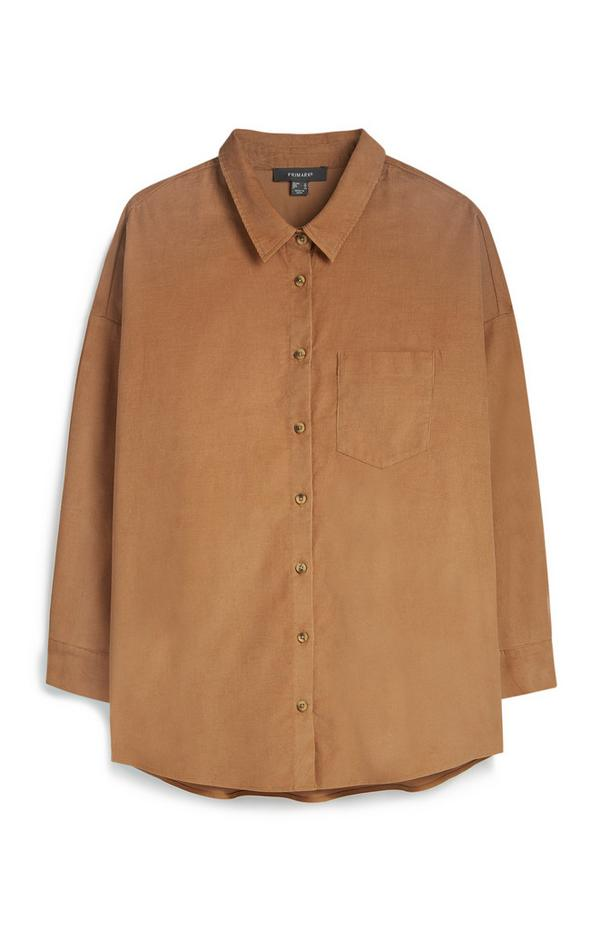 Bruin corduroy overhemd