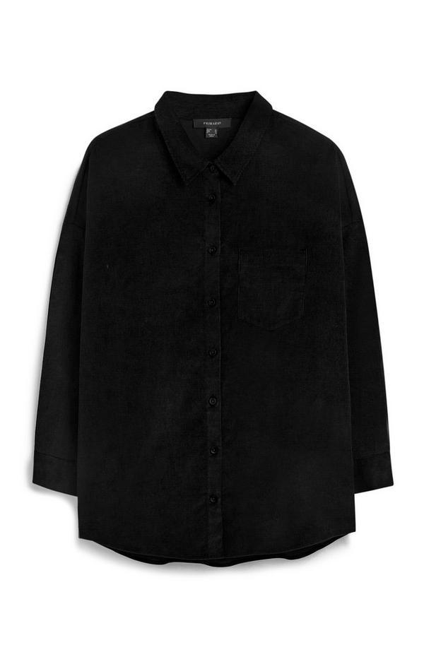 Chemise noire en velours côtelé