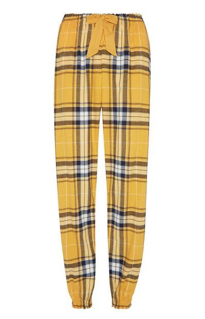 Flanellen pyjamabroek, geel