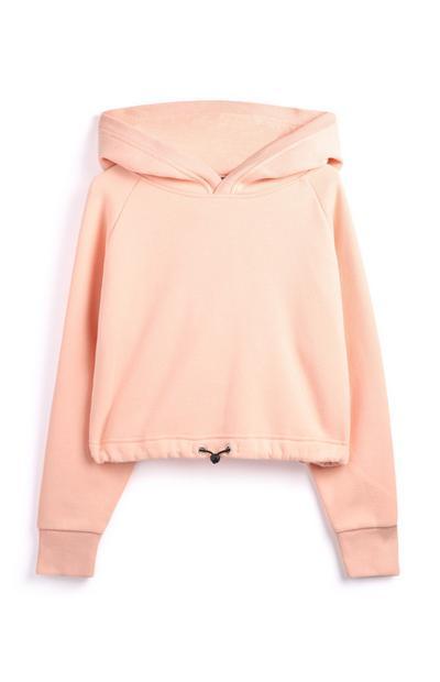 Camisola capuz cor-de-rosa