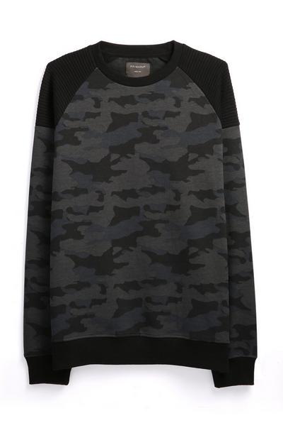 Zwarte trui met camouflageprint