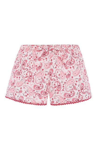 Kratke hlače z vzorcem paisley v barvi fuksija