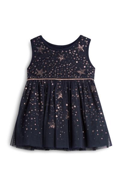 Vestido cintilante estrela menina bebé azul-marinho
