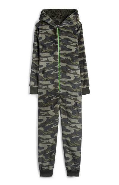 Onesie met camouflageprint voor jongens, kaki