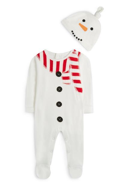 Baby Boy White Snowman Suit Wit Hat
