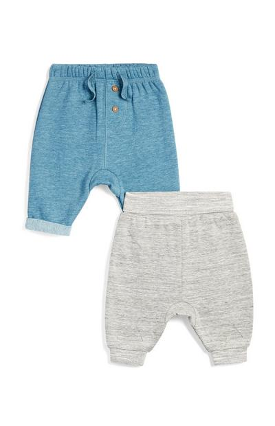 Baby Boy Blue And Grey Joggers 2Pk