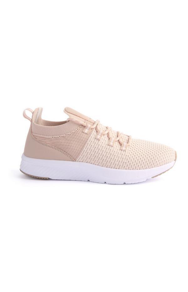 Beige Knit Sneakers
