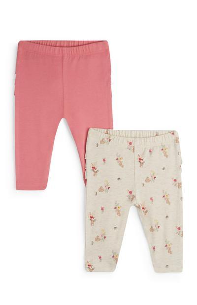 Newborn Girl Pink Frill Leggings 2Pk