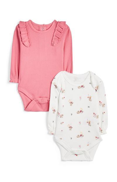 Rožnat in bel dekliški bodi za novorojenčke, 2 kosa