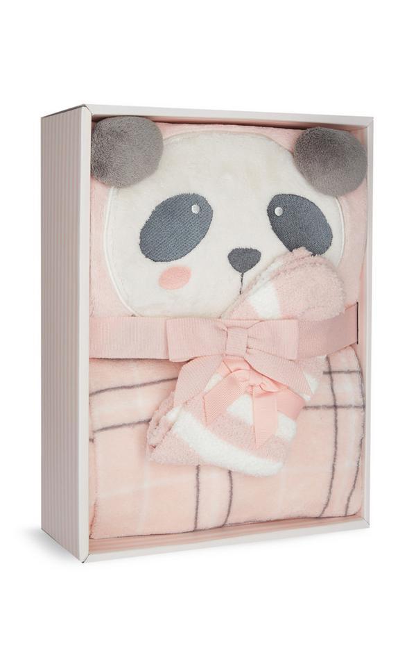 Caja regalo con pijama y calcetines de panda en felpa sintética