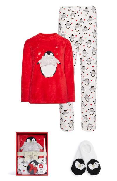 Caja regalo con pijama y pantuflas de pingüino en felpa sintética